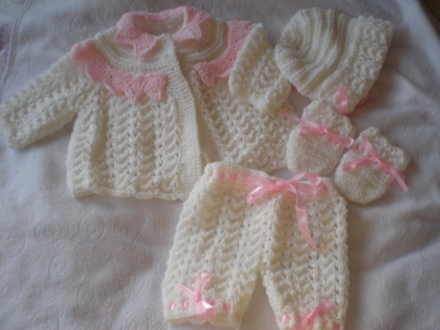 LACEY LACE COAT MATINEE SET BABY OR REBORN KNITTING PATTERN