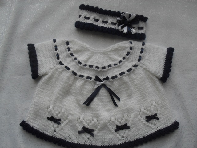 """NEW"" HEARTS AND BOW'S DRESS AND HEADBAND KNITTING PATTERN"