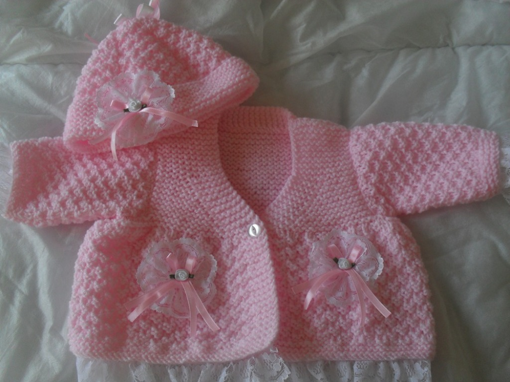 14 DOUBLE LACE COAT AND HAT BABY OR REBORN KNITTING PATTERN