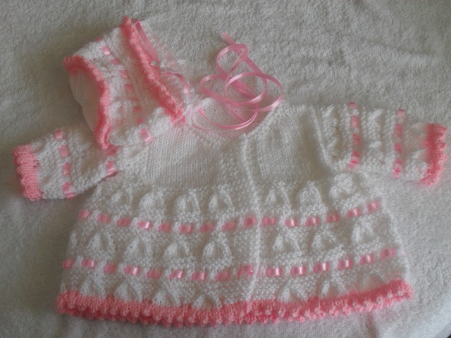 RIBBON AND ROSES COAT AND BONNET BABY OR REBORN KNITTING PATTERN